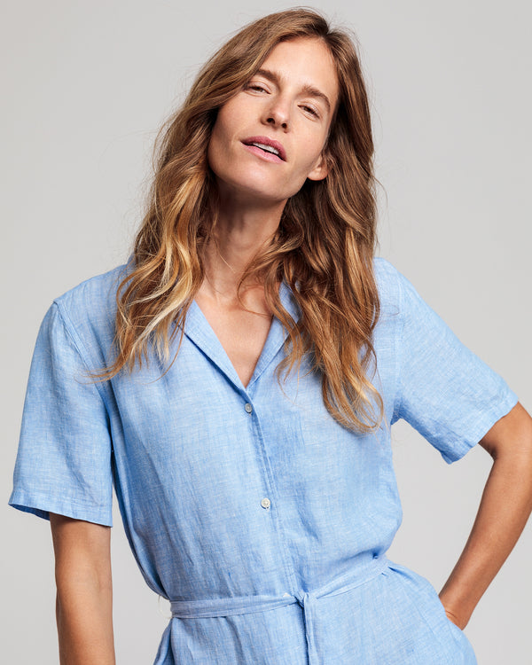 Linen Chambray Shirt Dress - Pacific Blue