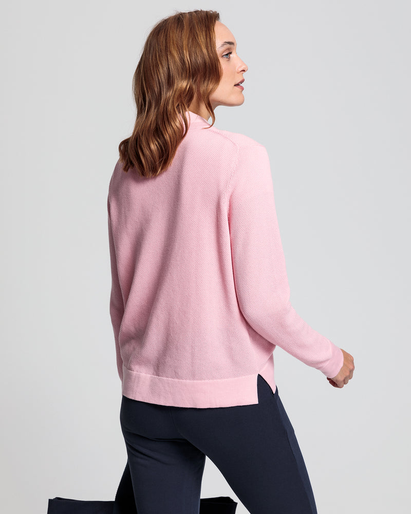 Cotton Pique Crew - Preppy Pink