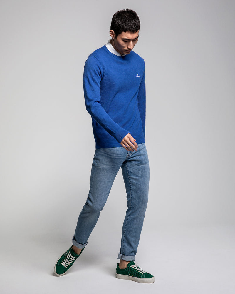 Cotton Pique Crew - Royal Blue Melange 30521