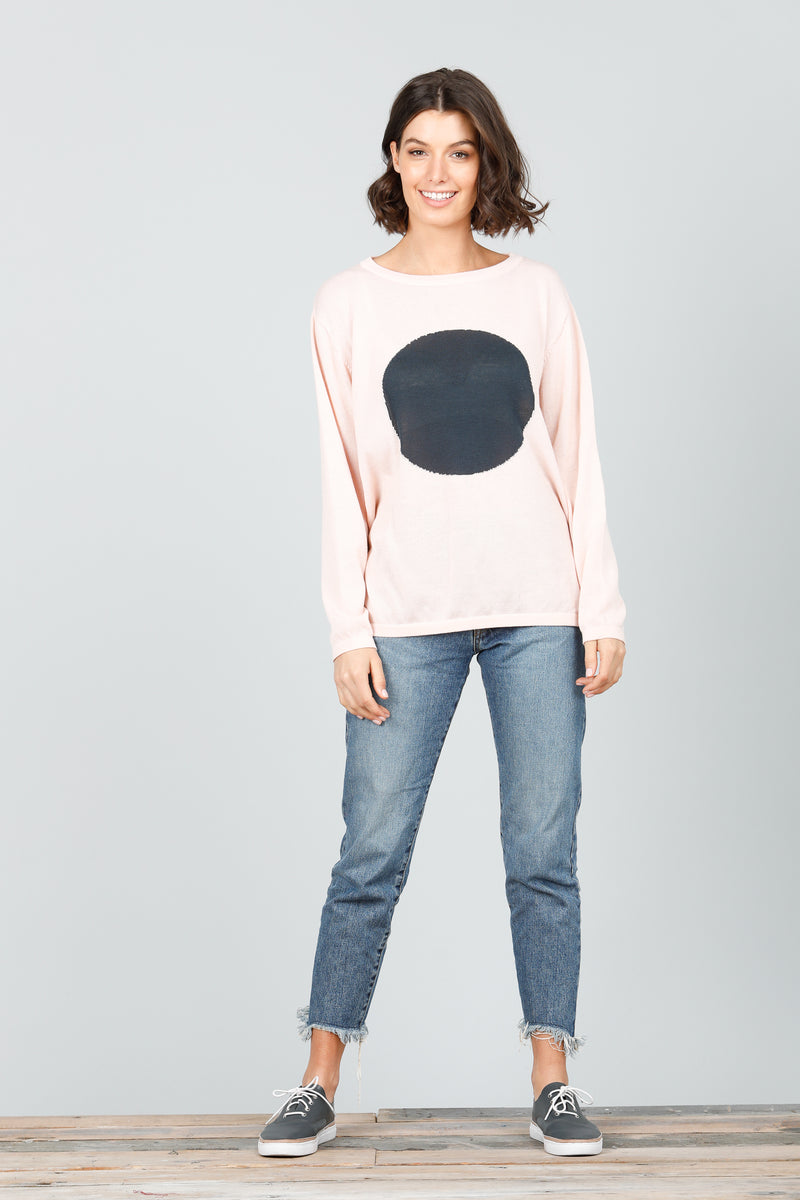 Petra Spot Knit - Charcoal and Blush