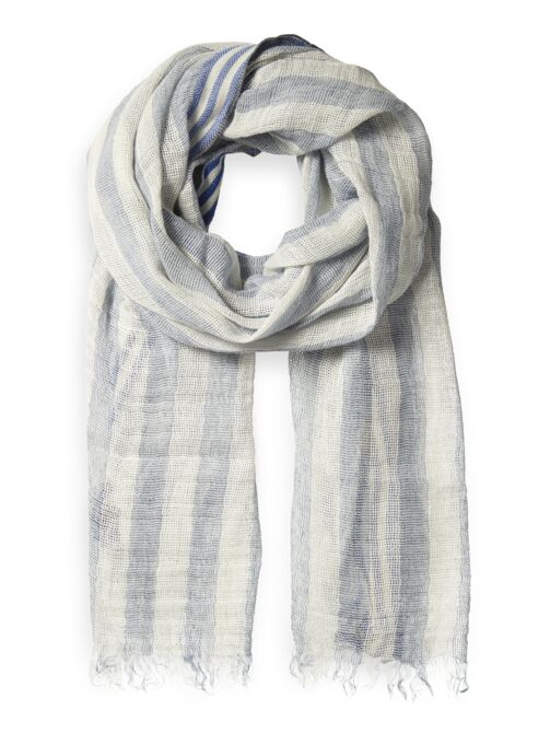 Striped cotton-linen scarf