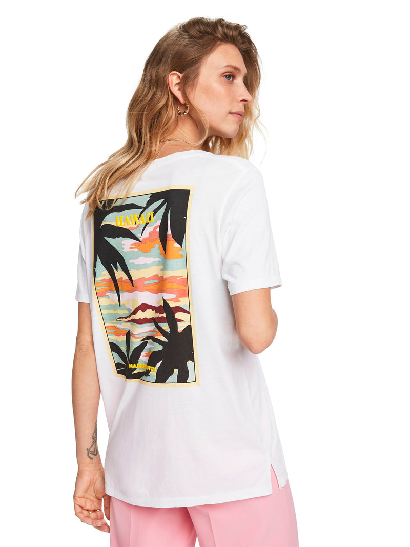 Loose Fit Tee With Tropical Print - 156195