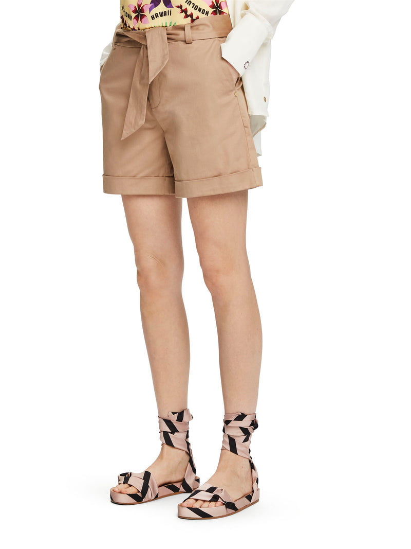 Longer Length Mercerised Chino Shorts - Night and Sand 156421