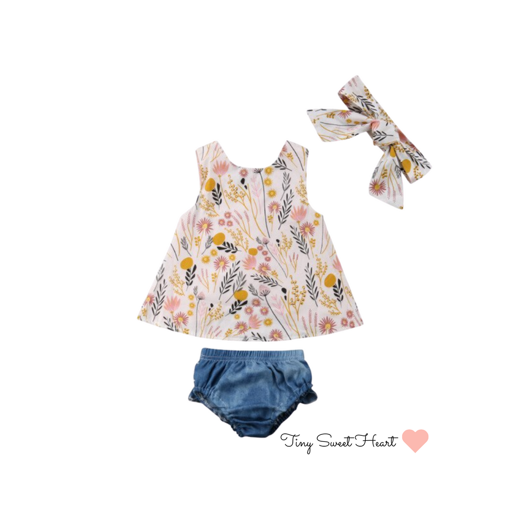 Top (Yellow and Pink Flowers + Shorts Pants + Headband)