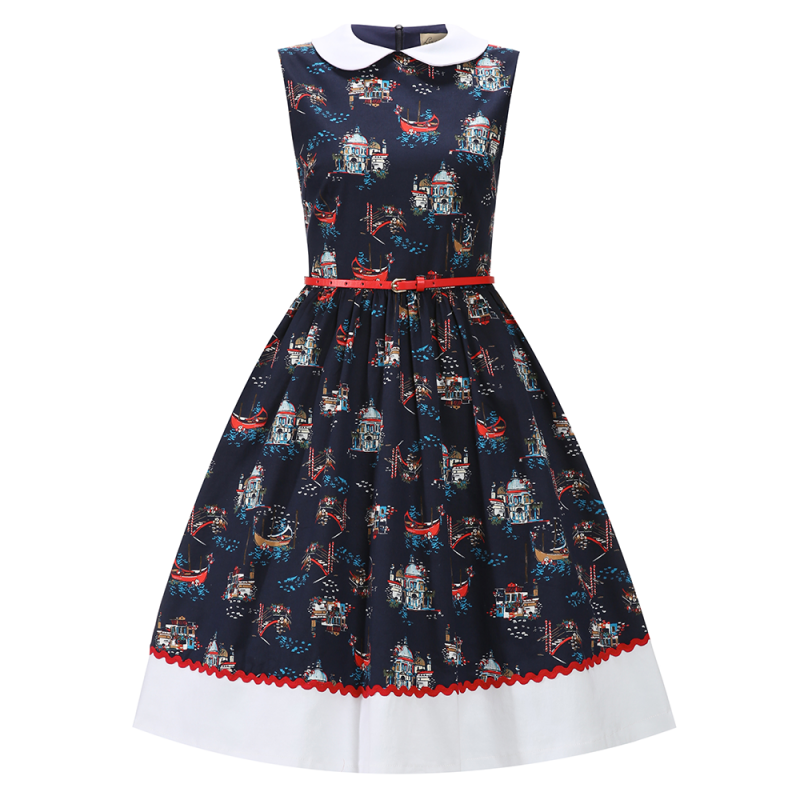 Clio Navy Venice Print Swing Dress Lindy Bop cotton