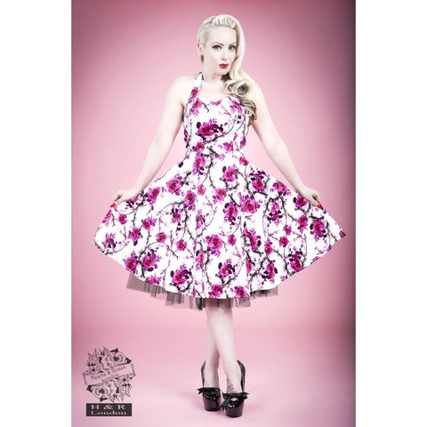 White Pink Floral Rose Long Dress