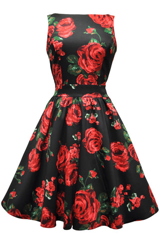 Red & Green Roses Floral Tea Dress