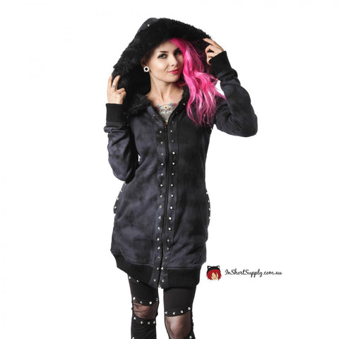 Heartless Fatal Kiss Grey Studded Hooded Jacket