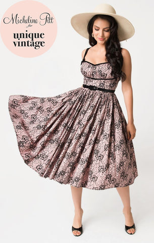 Peach & Black Lace Print Alice Swing Dress by Micheline Pitt