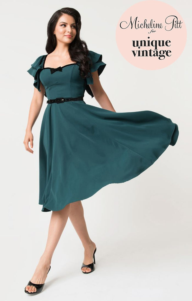 micheline pitt x unique vintage hunter green carmelita swing dress
