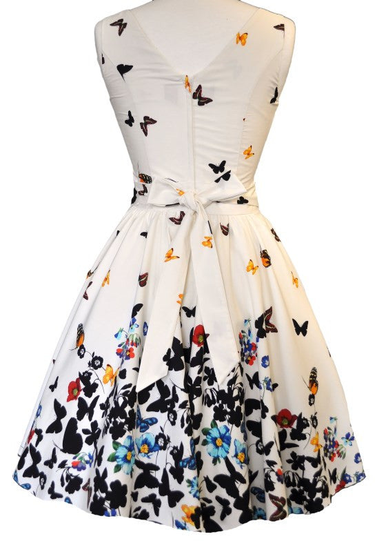 Beautiful White Butterfly Tea Dress Lady Vintage London