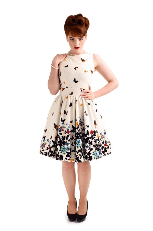 Beautiful White Butterfly Tea Dress - Lady Vintage London