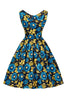 Blue Rose Madison Dress Lady London Vintage 50's Gold Floral
