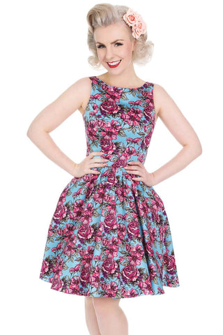 Illustrated Roses Tea Dress