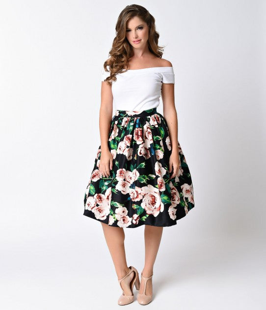 Unique Vintage Black & Pink Rose Print High Waist Swing Skirt