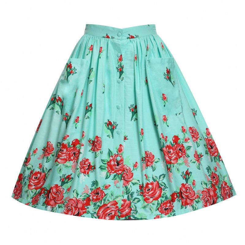 Adalene Mint Rose Print Swing Skirt Lindy Bop cotton green
