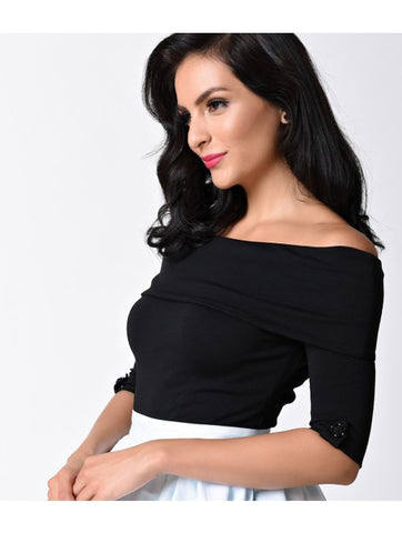 Black Off Shoulder Stretch Knit Brigitte Top