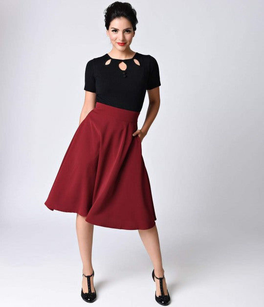 Retro Style Burgundy High Waist Vivien midi Swing Skirt unique vintage