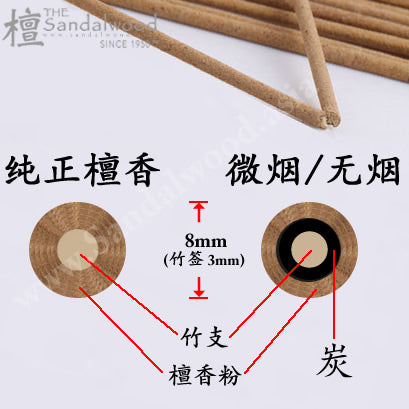Grade A 纯檀香材头<br>立香/大香 Large Incense Stick (8mm)