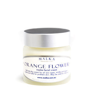 Natural Skin Care by Malka - for the face - Orange Flower Jojoba Cream 50g Amber Glass Jar