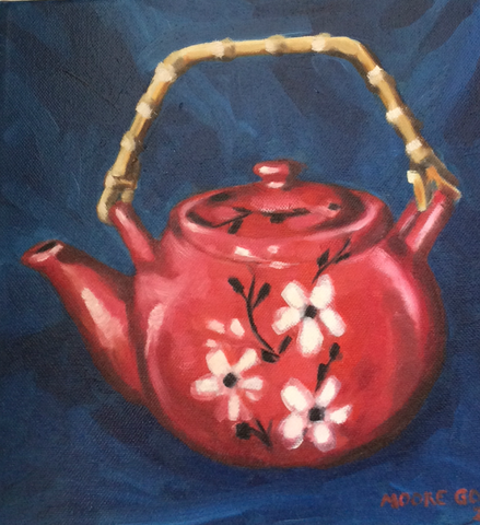The Red Tea Pot  Elizabeth Moore Golding original artwork
