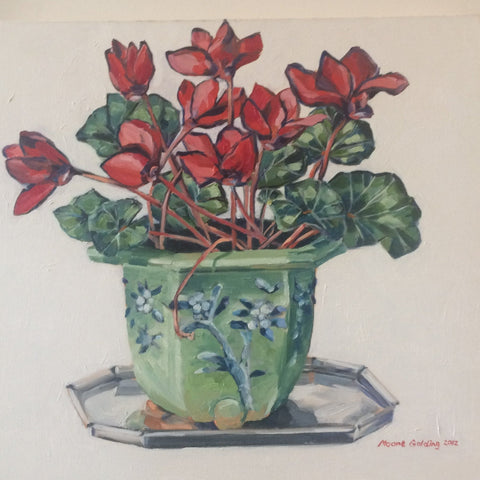 Cyclamen and Old Jardiniere Elizabeth Moore Golding original artwork