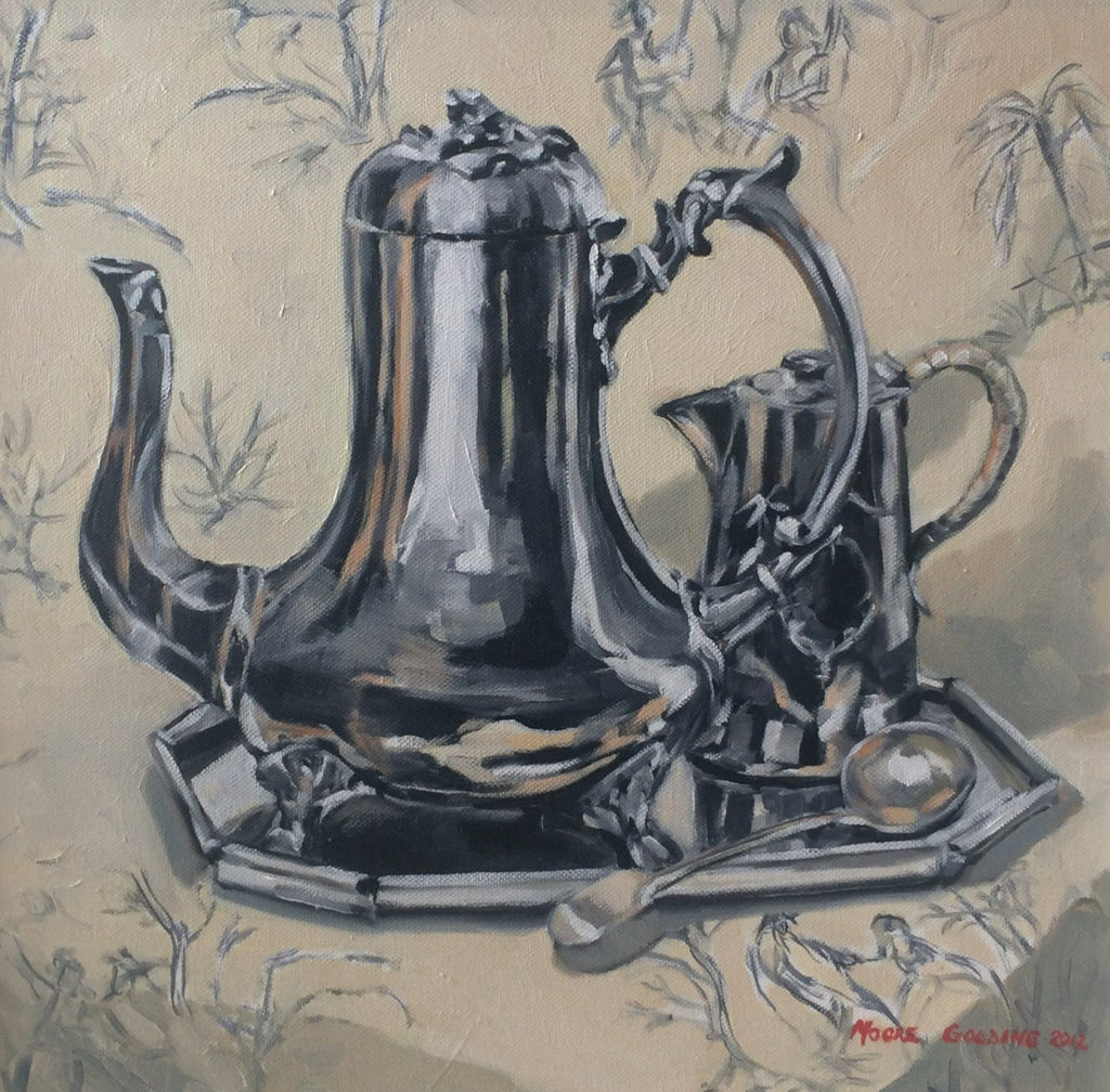 Coffee Pot on Toile Liz Moore Golding original artwork