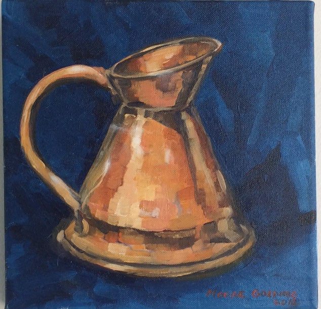 THE COPPER JUG oil on canvas Liz Moore Golding 25cm x 25cm