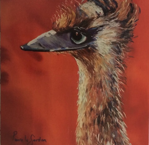 Emu  Gift card reproduction of original artwork by Pamela  Gordon