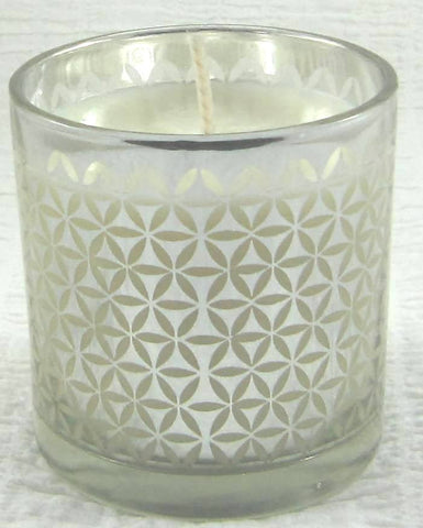 Cinnamon & Lime Soy Wax Candle (silver pattern glass)*