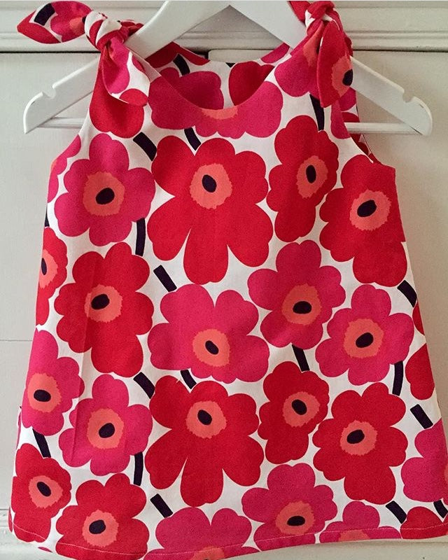 Marimekko dress with matching sun hat size 3, hand made by Karen