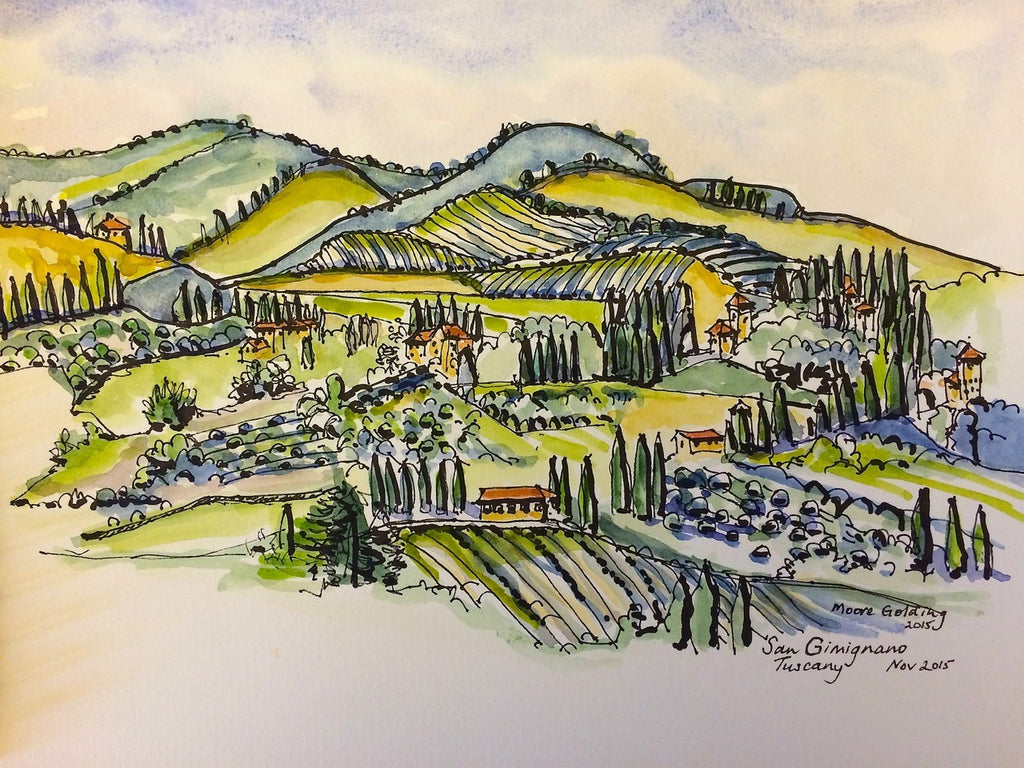 San Gimignano, from the wall  2015 Elizabeth Moore Golding Original Artwork
