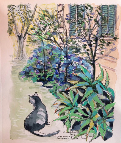 Someone's cat, someone's house, Pisa, Italy 2018 Elizabeth Moore Golding original artwork
