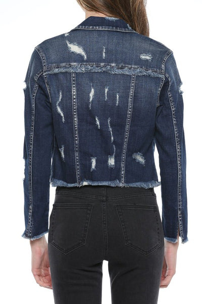 CROPPED DARK WASH FRAY EDGE DENIM JACKET
