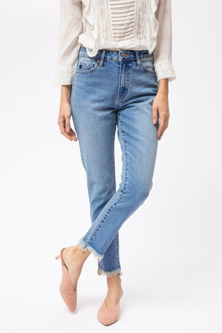 KANCAN HIGH RISE STRAIGHT LEG ANKLE JEAN (KC7328M)
