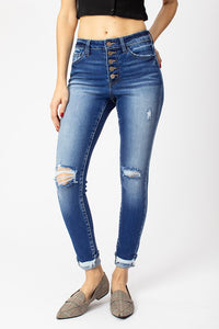 KANCAN DISTRESSED HIGH RISE BUTTON FLY SKINNY