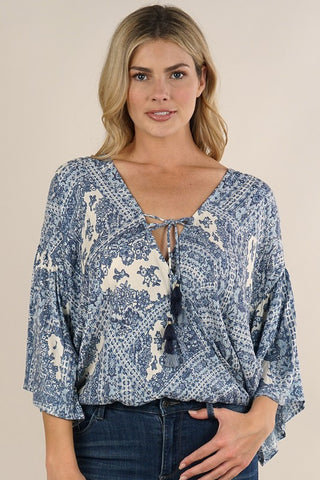 SCARF PRINT ANGEL SLEEVE SURPLICE TOP