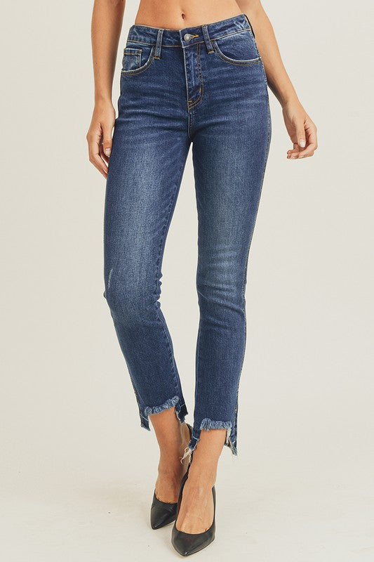 HIGH WAISTED UNEVEN HEM EASY FIT STRAIGHT JEANS