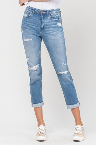 DISTRESSED CUFFED STRETCH BOYFRIEND JEAN