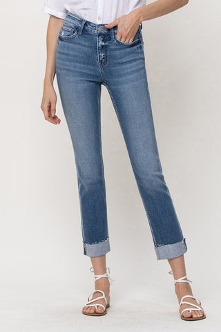 MID-RISE SINGLE CUFFED CROP SLIM STRAIGHT