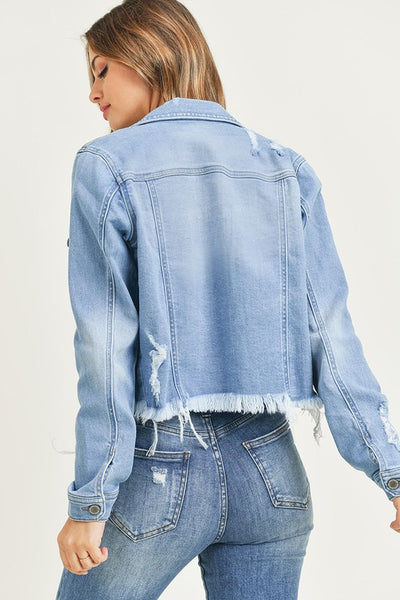 DISTRESSED LT WASH VINTAGE FRAYED HEM JACKET