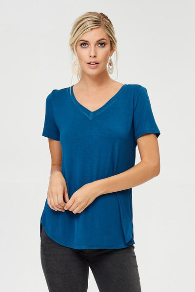 SOFT SS V-NECK BASIC SOLID TEE