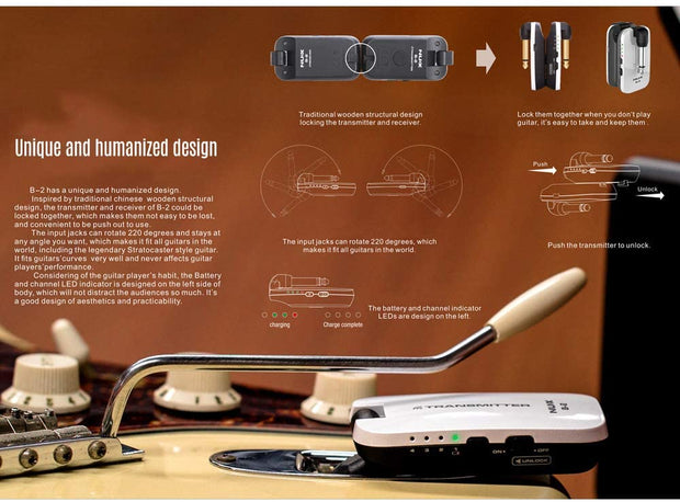 Lixada NUX B-2 2.4G Guitar Wireless System