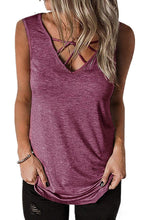 Load image into Gallery viewer, Fuchsia Crisscross V Neck Tank Top
