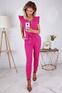 Rose Ruffle Trim Wrap V Neck Skinny Jumpsuit