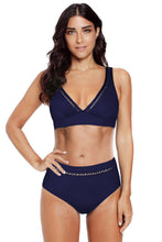 Load image into Gallery viewer, Blue V Neck Hollow Out High Waist Bikini