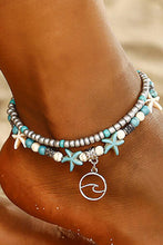 Load image into Gallery viewer, Bohemian Turquoise Starfish Dual-Layered Anklet