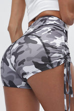 Load image into Gallery viewer, Gray Camo Print High Waist Side Ruched Fitness Yoga Shorts
