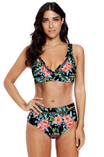 Load image into Gallery viewer, Black Floral Print V Neck Hollow Out High Waist Bikini