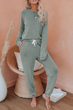 Load image into Gallery viewer, Green Raglan Sleeve Top And Pants Loungewear Set